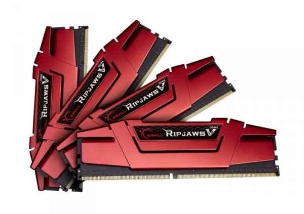 G.Skill 16GB DDR4-2666 Quad-Kit, czerwony F4-2666C15Q-16GVR, Ripjaws V