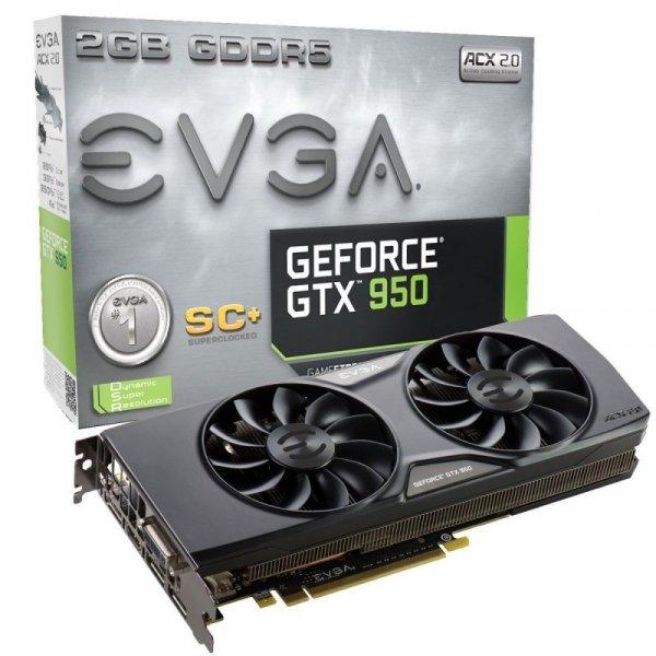 EVGA GeForce GTX 950 Superclocked+ ACX 2.0, HDMI, 3x DisplayPort, DVI-I, Retail