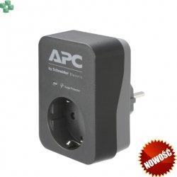 PME1WU2B-GR Gniazdo/przejściówka przeciwprzepięciowa 2 x USB - APC Essential SurgeArrest 1 Outlet 2 USB Ports Black 230V Germany (SCHUKO)