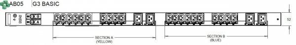 EBAB05 Listwa PDU EATON EPDU BA 0U (309 32A 1P) 20 x C13, 4 x C19
