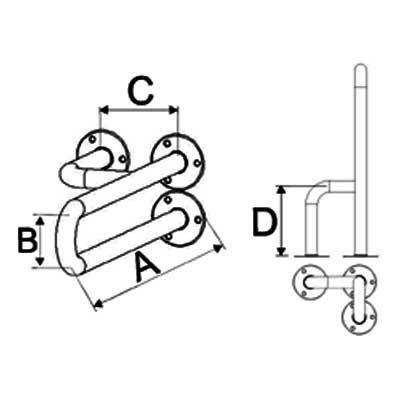 Uchwyty Umywalkowe Stałe Prawe/Lewe INOX fi 25mm - Różne Rodzaje