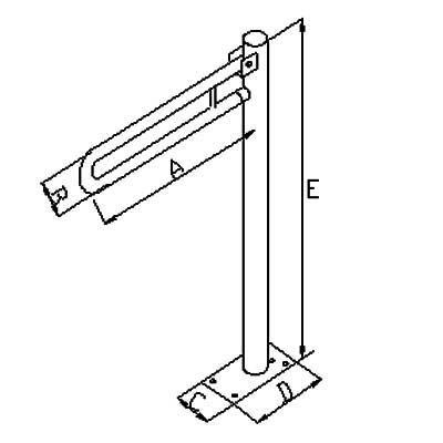 Uchwyt Uchylny do WC Wolnostojący INOX fi 32mm