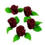 Zestaw RÓŻA DUŻA BORDOWA z listkami - kwiaty cukrowe