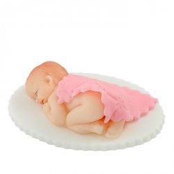 Hokus - Cukrowy Bobas pod kołderką różowy - dekoracja tortu na chrzest
