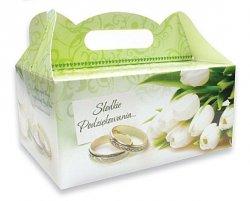 Ozdobne pudełko na ciasto weselne 10 szt. Tulipany