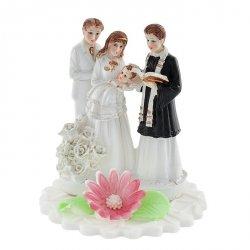 Figurka na tort - Chrzciny z księdzem dziewczynka