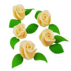 Zestaw RÓŻA DUŻA ECRU z listkami - kwiaty cukrowe