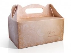 Ozdobne pudełko na ciasto weselne 10 szt. brązowe