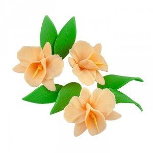 Zestaw cukrowe kwiaty na tort STORCZYK z listkami ECRU