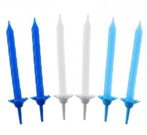 Świeczki urodzinowe biało-błękitno-niebieskie 24 szt. v.3