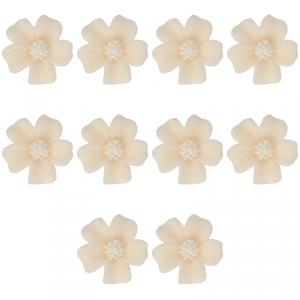 Kwiatki cukrowe na tort NIEZAPOMINAJKA (8x10szt) ecru