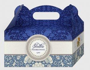 Ozdobne pudełko Szafir na ciasto weselne 10 szt. Lux
