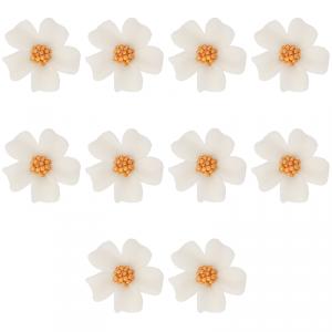 Kwiatki cukrowe na tort NIEZAPOMINAJKA (8x10szt) białe