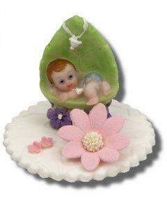 Hokus - Dziewczynka w kołysce z liścia - dekoracja na chrzest