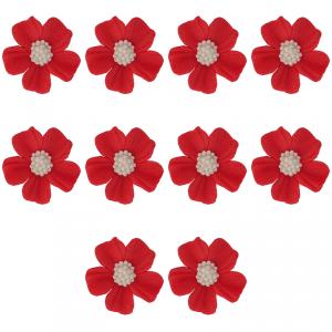 Kwiatki cukrowe na tort NIEZAPOMINAJKA (8x10szt) czerwone