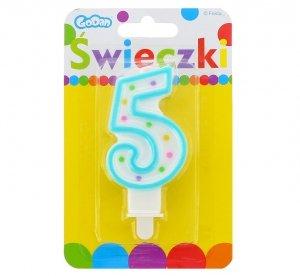 Świeczka urodzinowa na tort z kolorową obwódką i kropeczkami - cyfra 5