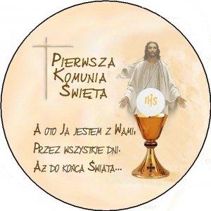 Hokus - opłatek na tort komunijny okrągły Jezus - 12 szt