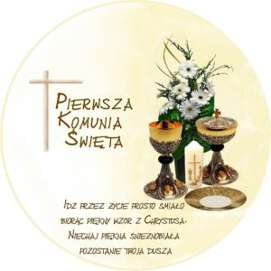 Hokus - opłatek okrągły na tort komunijny Patena