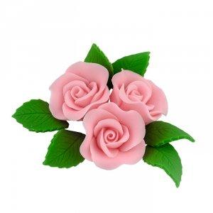 Zestaw cukrowe kwiaty na tort 3 RÓŻE MINI MAX z listkami RÓŻOWY
