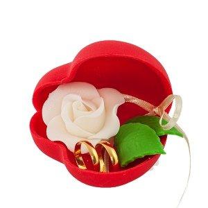 Dekoracja ślubna - Serduszko z obrączkami - szkatułka