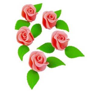 Zestaw RÓŻA DUŻA ŁOSOSIOWA z listkami - kwiaty cukrowe