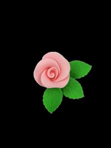 Róża mała z listkami - różowa 20 kompletów