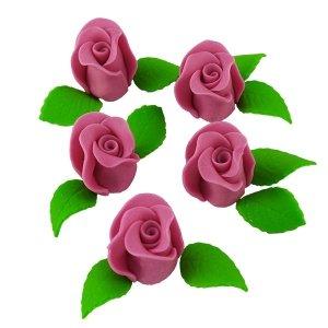 Zestaw RÓŻA DUŻA WRZOSOWA z listkami - kwiaty cukrowe