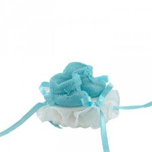 Buciki niebieskie na tiulu - dekoracja tortu na chrzest