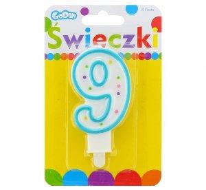 Świeczka urodzinowa na tort z kolorową obwódką i kropeczkami - cyfra 9