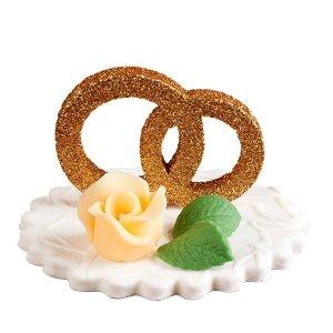Dekoracja ślubna - obrączki z kwiatkiem