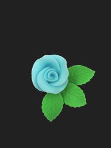 Róża mała z listkami - niebieska 20 kompletów