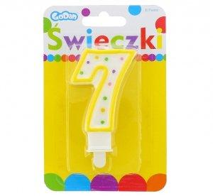 Świeczka urodzinowa na tort z kolorową obwódką i kropeczkami - cyfra 7
