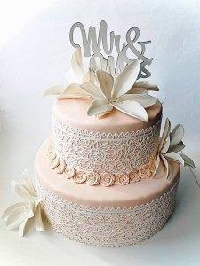Cukrowa jadalna KORONKA do dekoracji tortu 120cm BIAŁA 07
