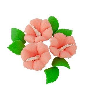 Zestaw cukrowe kwiaty HIBISKUS z listkami ŁOSOSIOWY