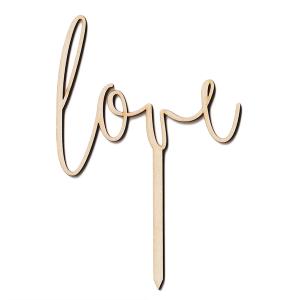 Drewniana dekoracja TOPPER na tort LOVE walentynki 9cm