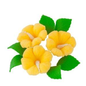 Zestaw cukrowe kwiaty HIBISKUS z listkami ŻÓŁTY