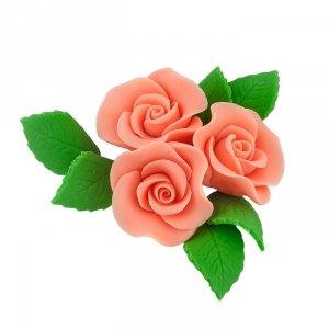 Zestaw cukrowe kwiaty na tort 3 RÓŻE MINI MAX z listkami ŁOSOSIOWY