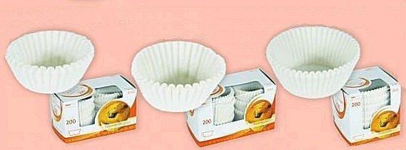 Papilotki - foremki do mufinek białe fi 28 mm 200 szt.