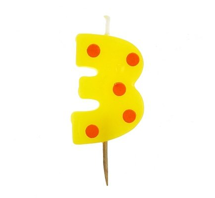 Świeczka cyfra Grochy Mini 3