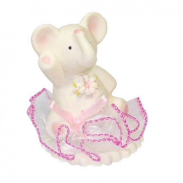Hokus - Słonik z kwiatkiem na tiulu - Figurka na tort