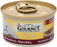GOURMET Gold - Kawałki w sosie z kurczakiem i wątróbką 85g. Dla dorosłych kotów.