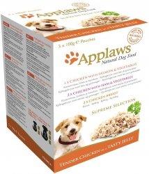 Applaws Multipack w galaretce Supreme Selection 1x kurczak z łososiem i warzywami, 2x kurczak z szynką i warzywami, 2x pierś z kurczaka - 5x100g