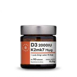 Witamina D3 (2000IU) + K2mk7 + Cynk + Selen, Aura Herbals, 90 tabletek