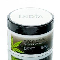 Maseczka do Włosów Suchych, Zniszczonych z Olejem Konopnym, 200 ml India Cosmetics