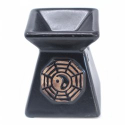 Kwadratowy Kominek Ceramiczny Yin Yang Czarny