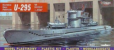 Mirage 40414 1/400 U-295 typ U-VIIC/41 + 'Biber' Niemiecki Okręt Podwodny