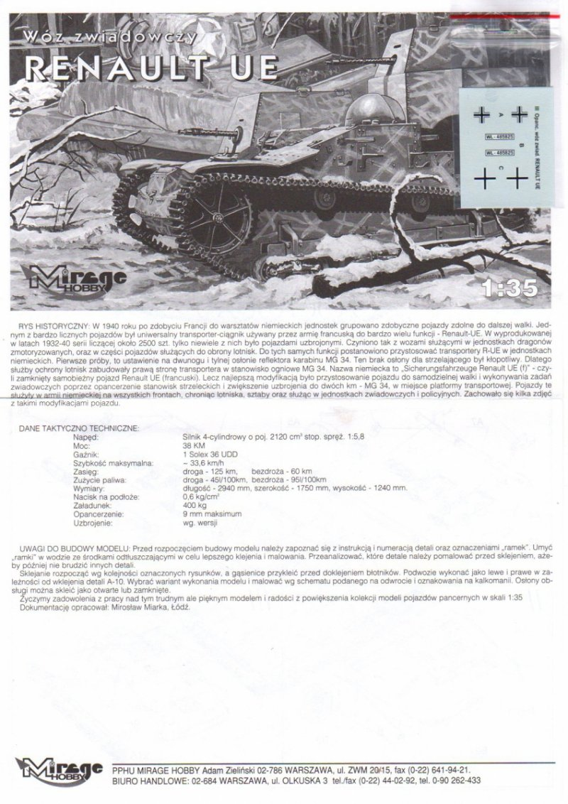 Mirage 355007 1/35 Wóz zwiadowczy RENAULT UE
