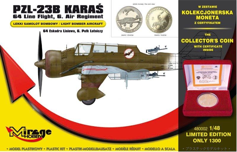 Mirage 480002 1/48 PZL-23B Karaś '64. Eskadra Liniowa, 6. Pułk Lotniczy' [zestaw zawiera Kolekcjonerski Numizmat z certyfikatem]