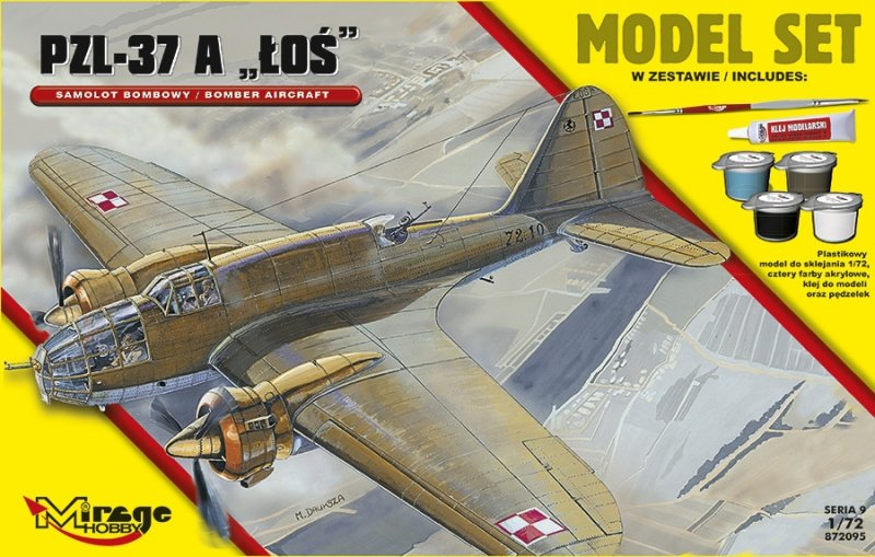 Mirage 872095 1/72 [Model Set] PZL-37 A Łoś Samolot bombowy