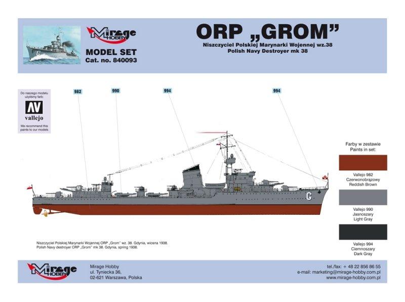 Mirage 840093 1/400 [MODEL SET]  ORP 'GROM' wz.38 [Polski Niszczyciel II WŚ]